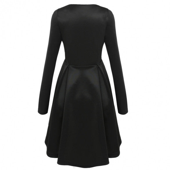 Long Sleeves Zipper High Waist Pleated Little Black Dress - O Yours Fashion - 4