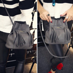 Fashion Women Soft Shoulder Bag Drawstring Bucket Bag With Tassel - Oh Yours Fashion - 3