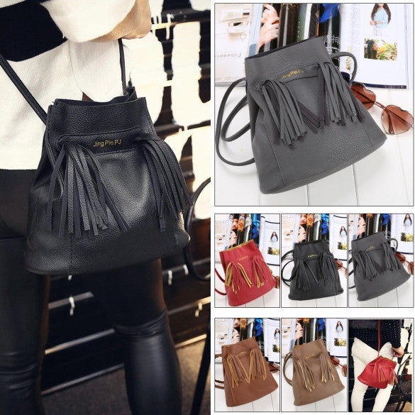 Fashion Women Soft Shoulder Bag Drawstring Bucket Bag With Tassel - Oh Yours Fashion - 1