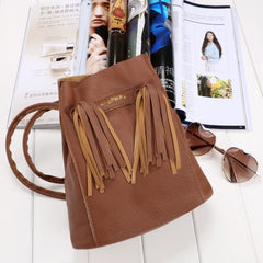 Fashion Women Soft Shoulder Bag Drawstring Bucket Bag With Tassel - Oh Yours Fashion - 4