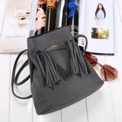 Fashion Women Soft Shoulder Bag Drawstring Bucket Bag With Tassel - Oh Yours Fashion - 6