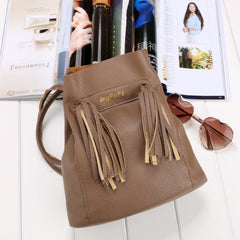 Fashion Women Soft Shoulder Bag Drawstring Bucket Bag With Tassel - Oh Yours Fashion - 7