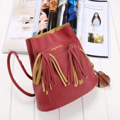 Fashion Women Soft Shoulder Bag Drawstring Bucket Bag With Tassel - Oh Yours Fashion - 8