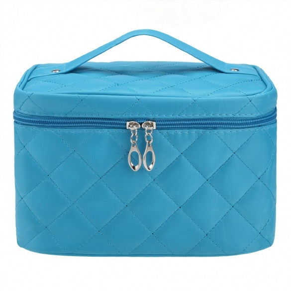 a52bd70d4a Women Portable Travel Zipper Plaid Cosmetic Makeup Bag Toiletry Case With  Mirror - Oh Yours Fashion