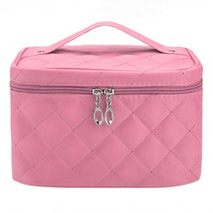 Women Portable Travel Zipper Plaid Cosmetic Makeup Bag Toiletry Case With Mirror - Oh Yours Fashion - 4