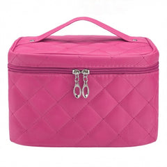 Women Portable Travel Zipper Plaid Cosmetic Makeup Bag Toiletry Case With Mirror - Oh Yours Fashion - 6