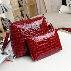 Fashion Women's Artificial Leather Embossed Messenger Bags 2pcs/set Clutch Shoulder/Hand Bag - Oh Yours Fashion - 3