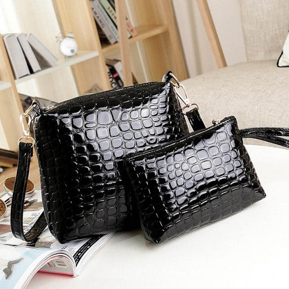 Fashion Women's Artificial Leather Embossed Messenger Bags 2pcs/set Clutch Shoulder/Hand Bag - Oh Yours Fashion - 1
