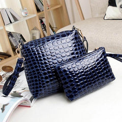 Fashion Women's Artificial Leather Embossed Messenger Bags 2pcs/set Clutch Shoulder/Hand Bag - Oh Yours Fashion - 4