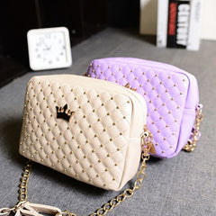 Fashion Candy Color Women's Artificial Leather Rivet Chain Embossed Messenger Bags Satchel Shoulder/Hand Bag - Oh Yours Fashion - 3