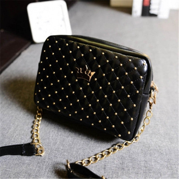 Fashion Candy Color Women's Artificial Leather Rivet Chain Embossed Messenger Bags Satchel Shoulder/Hand Bag - Oh Yours Fashion - 1