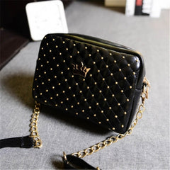 Fashion Candy Color Women's Artificial Leather Rivet Chain Embossed Messenger Bags Satchel Shoulder/Hand Bag - Oh Yours Fashion - 2