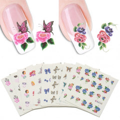 50 Sheets/set 3D Design Nail Art Tips Decoration Print Water Transfer Nail Stickers Manicure Decals - Oh Yours Fashion - 3