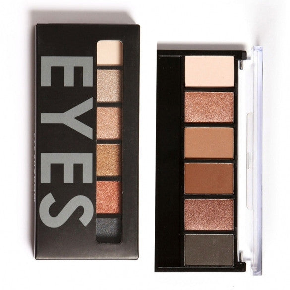 6 Colors Eyeshadow Makeup Cosmetic Matte Shimmer Eye Shadow Palette With Mirror Eye Shadow Sponge - Oh Yours Fashion - 1