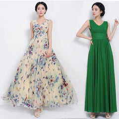 Beautiful Scoop Sleeveless Print Long Pleated Chiffon Dress - Oh Yours Fashion - 4