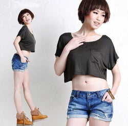 Scoop Casual Short Sleeve Pocket Short Midriff-baring T-shirt - Meet Yours Fashion - 3