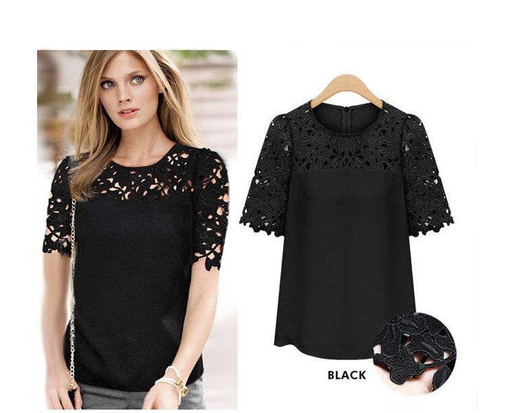 Lace Patchwork Short Sleeves Scoop Hollow Out Chiffon Blouse - Oh Yours Fashion - 5