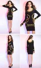 Gold Foil Long Sleeves Tunic Party Bodycon Dress - O Yours Fashion - 10