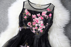 Charming Flower Embroidery Short Skater Dress - Oh Yours Fashion - 4