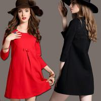 Lace Patchwork 3/4 Sleeves Short Loose Dress - MeetYoursFashion - 2