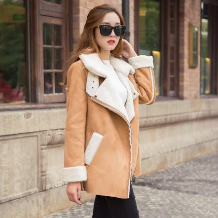 Lapel Faux Suede Warm Short Coat - Meet Yours Fashion - 5