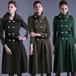 Stand Collar Button Belt Pleated Long Coat - Oh Yours Fashion - 1