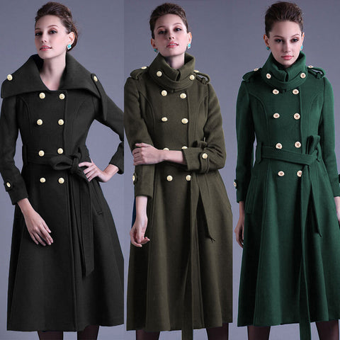 Stand Collar Button Belt Pleated Long Coat