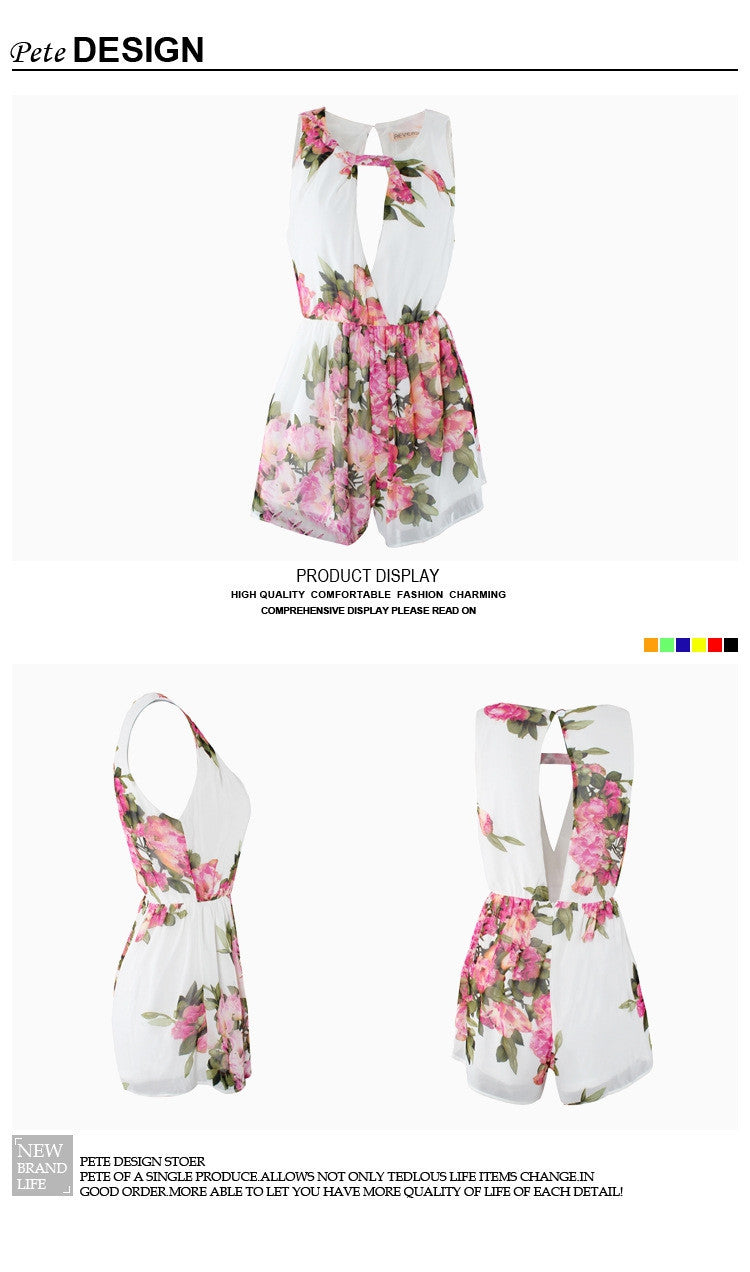 Floral Chiffon Jumpsuit Open Back Overall Jumpsuit - O Yours Fashion - 7