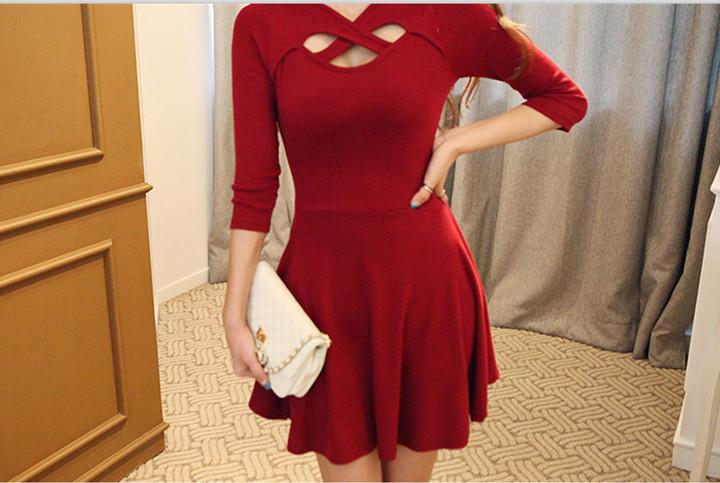 Hollow Out 3/4 Sleeve Bodycon Pleated Dress - MeetYoursFashion - 5
