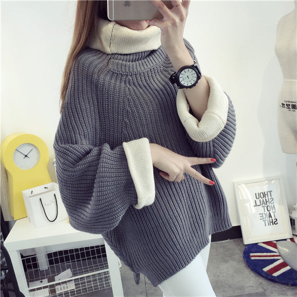 Korean Solid Color Knit Big Pullover Splicing Sweater - Oh Yours Fashion - 4
