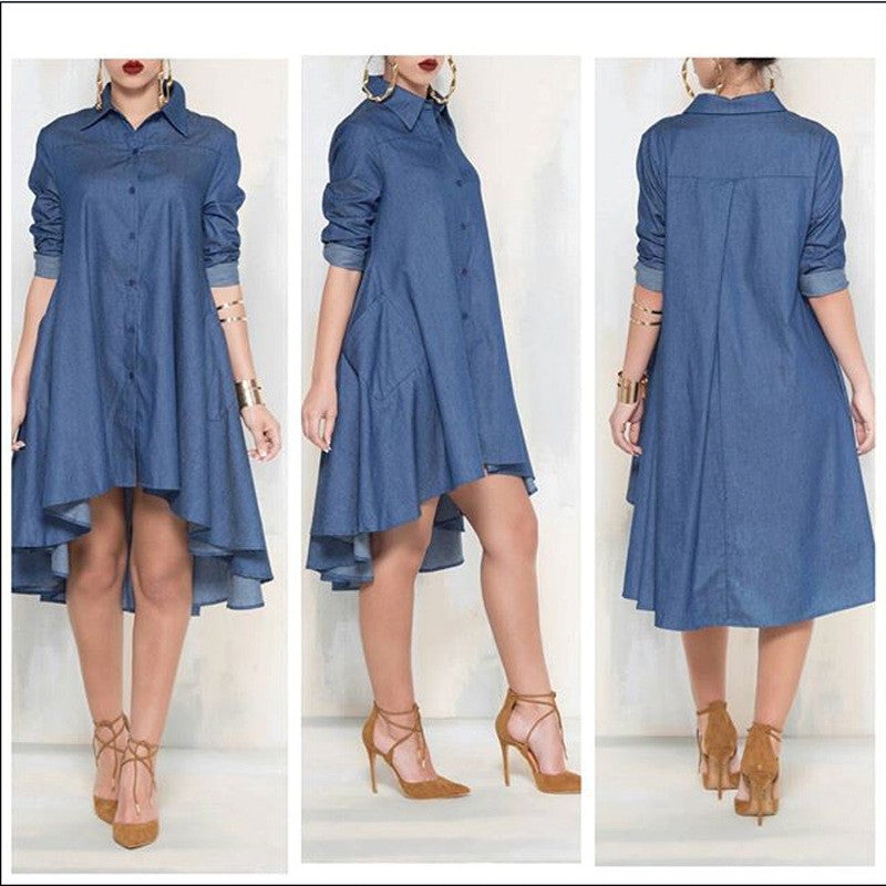 Casual Denim Blue Pockets Shirt Irregular Loose Dress - Oh Yours Fashion - 1
