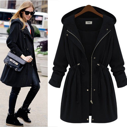 Womens Drawstring Zipper Hooded Long Coat - O Yours Fashion - 1