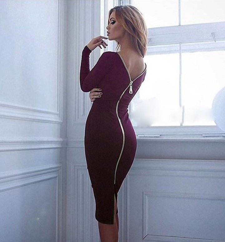 Zipper Long Sleeve Pure Color O-neck Knee-Length Dress - Oh Yours Fashion - 6