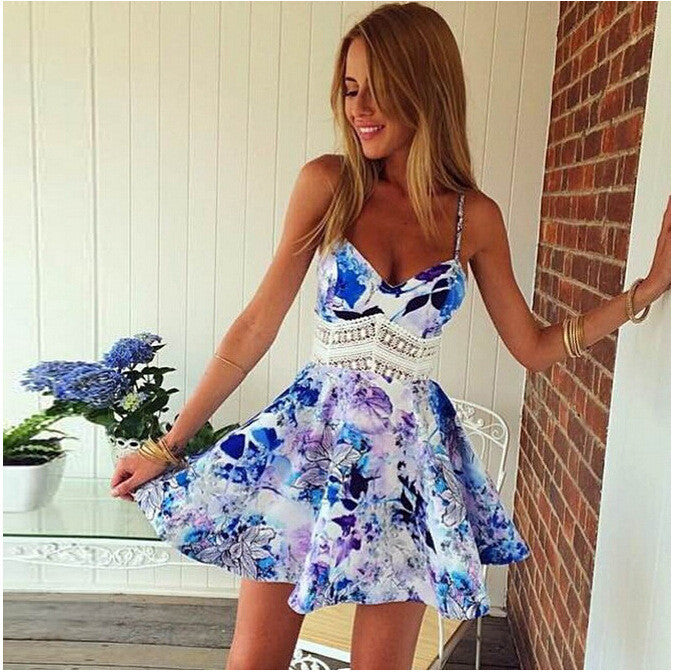 Flower Print Spaghetti Strap Sleeveless Open Back Short Dress - Oh Yours Fashion - 1