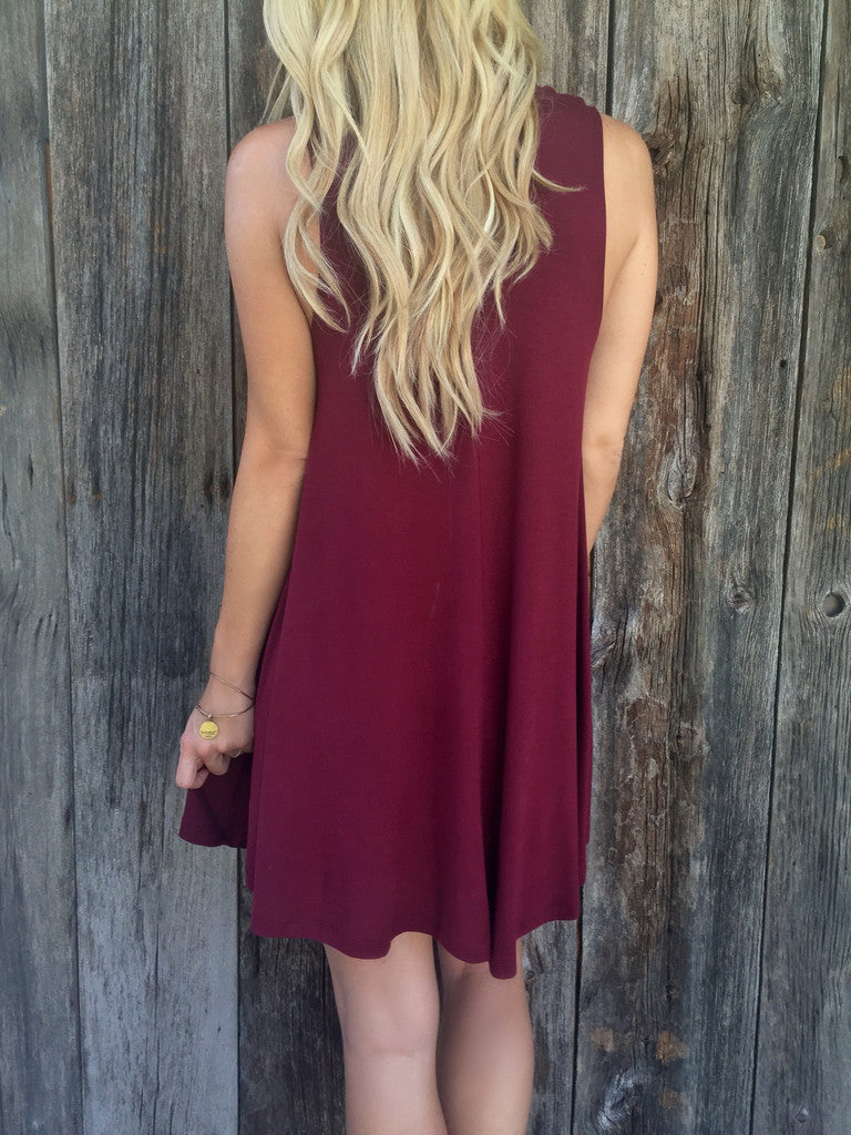 Pure Color O-neck Sleeveless Loose Short Dress - Oh Yours Fashion - 6
