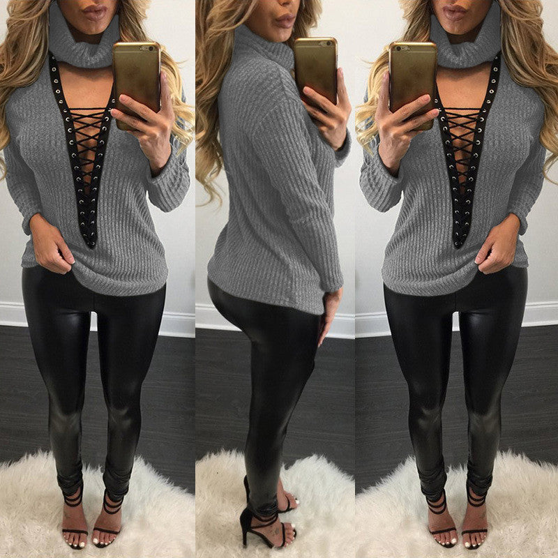 Sexy V Lace Up Turtleneck Sweater - Oh Yours Fashion - 5
