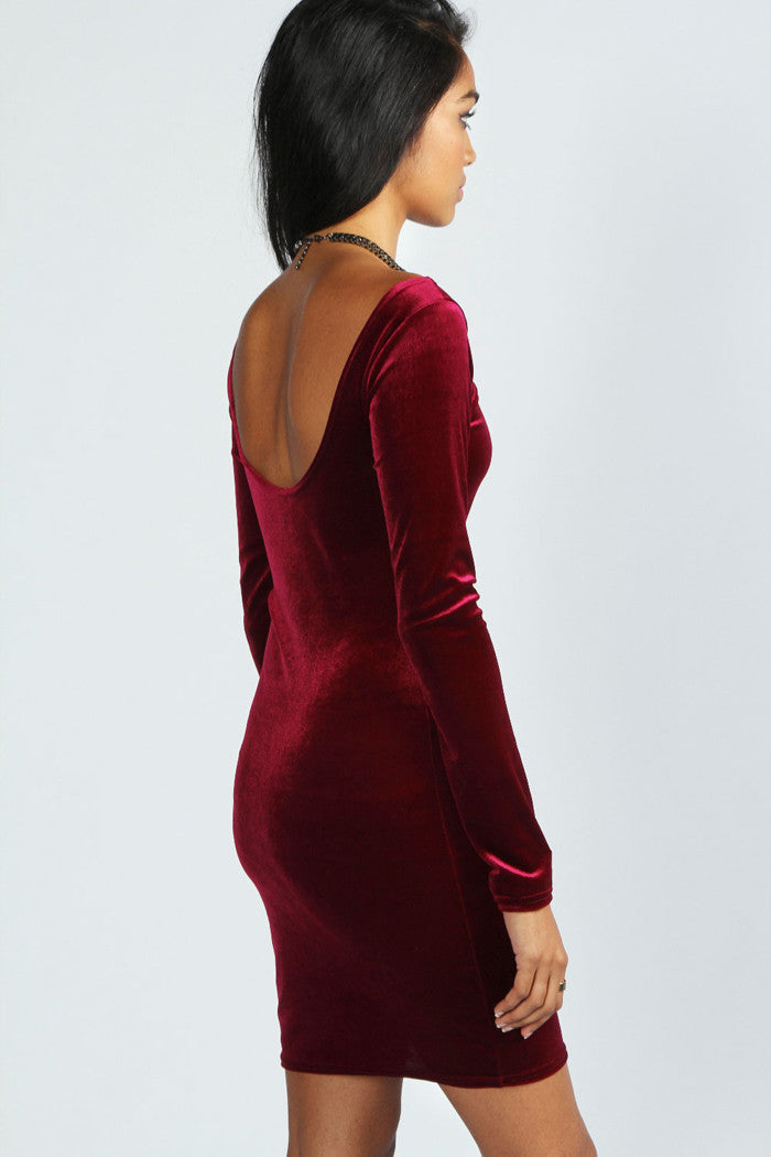 Fashion Velvet Long Sleeve Backless Short Bodycon Dress - Oh Yours Fashion - 7