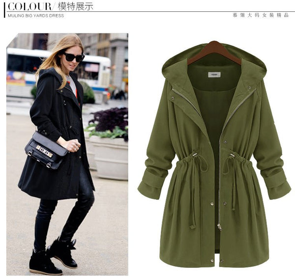 Womens Drawstring Zipper Hooded Long Coat - O Yours Fashion - 2
