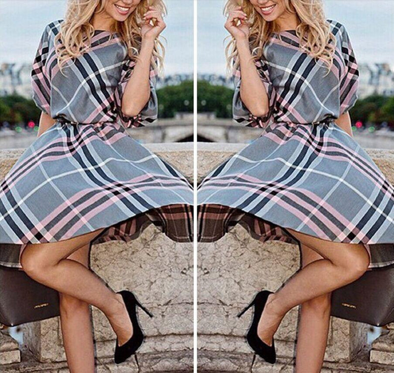 Half Sleeves Plaid Loose Knee-length Dress - Meet Yours Fashion - 4