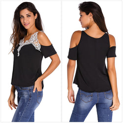 Dew Shoulder Stitching Embroidery Lace T-shirt - Oh Yours Fashion - 3