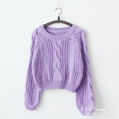 Cable Sleeve Coarse Yam Pure Color Pullover Sweater - Oh Yours Fashion - 5