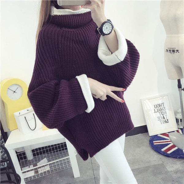 Korean Solid Color Knit Big Pullover Splicing Sweater - Oh Yours Fashion - 5