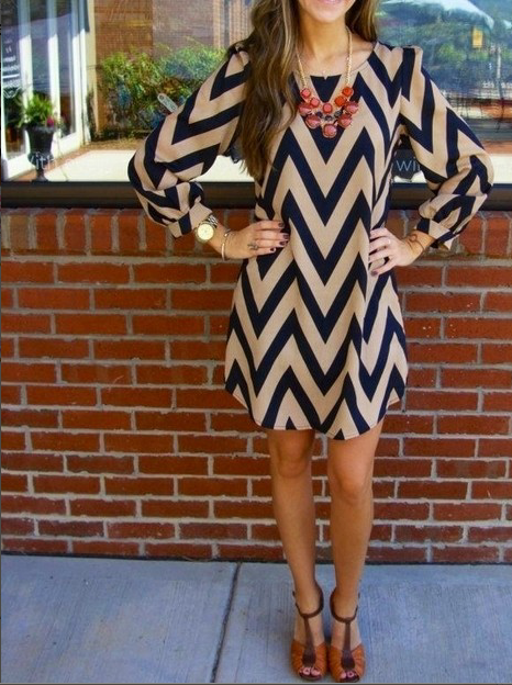 Stripe O-neck Long Sleeve Short Dress - Oh Yours Fashion - 2