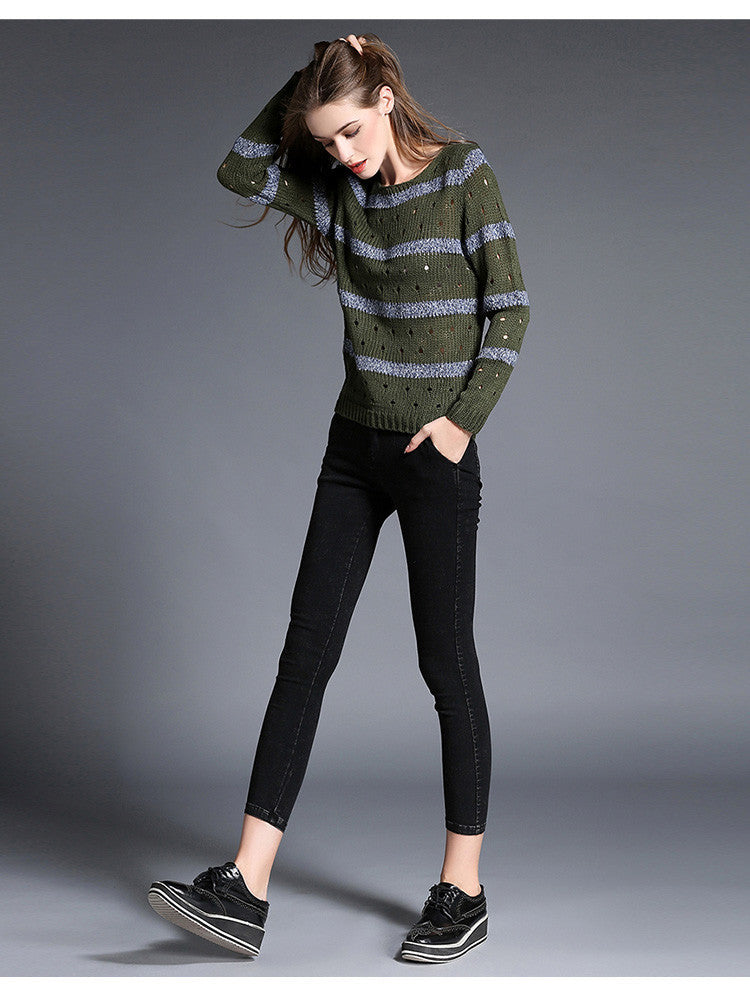 Fashion Stripe Hollow Out Pullovers Knitwear Sweater - Oh Yours Fashion - 5