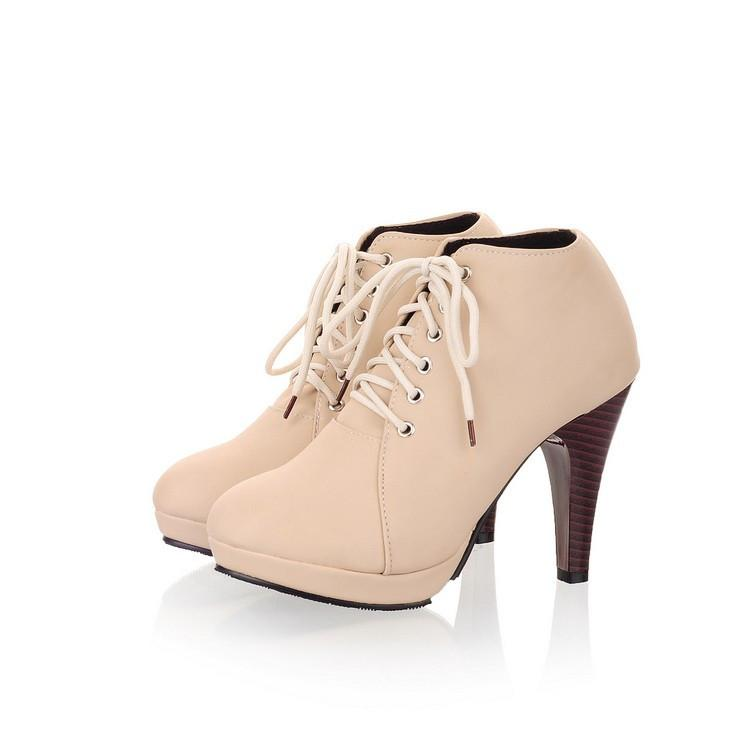 Round Toe Stiletto High Heel Lace Up Ankle Boots - MeetYoursFashion - 13