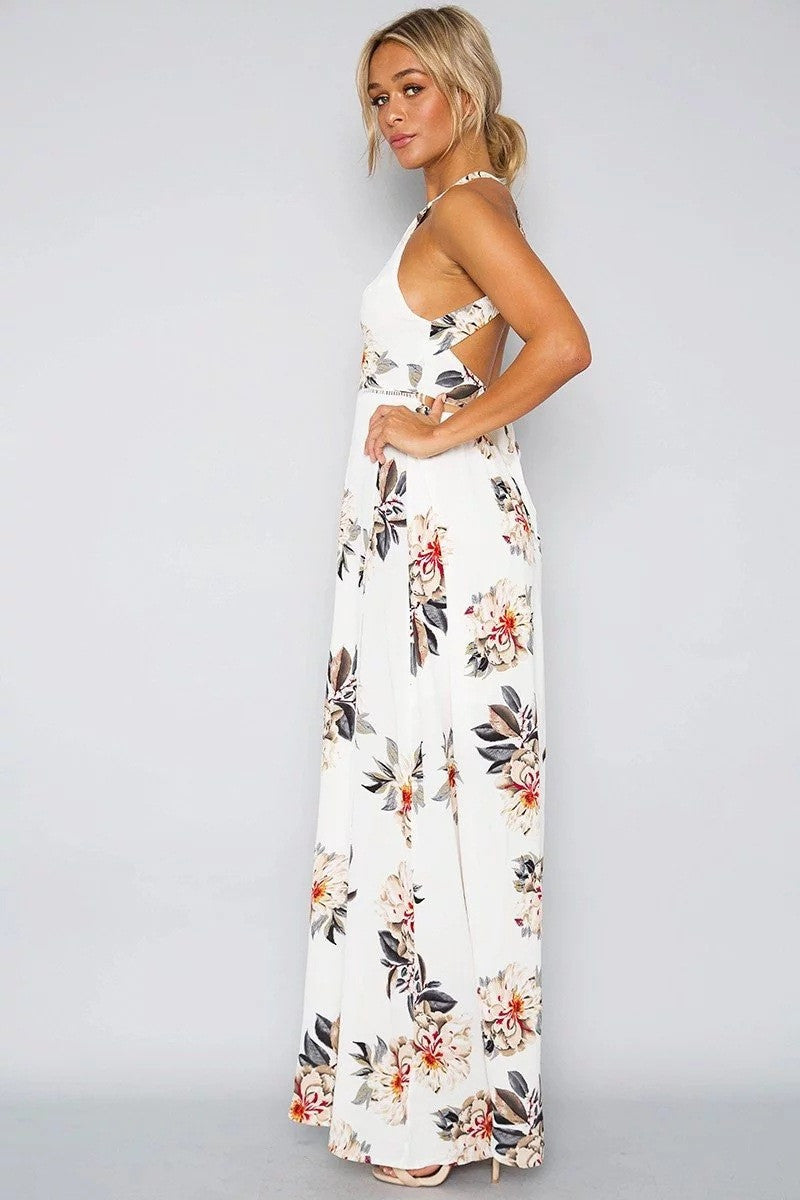 Bear Shoulder Backless Floral Print Split Long Dress