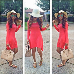 Red Scoop High Waist Long Sleeve Irregular Short Dress - Oh Yours Fashion - 1