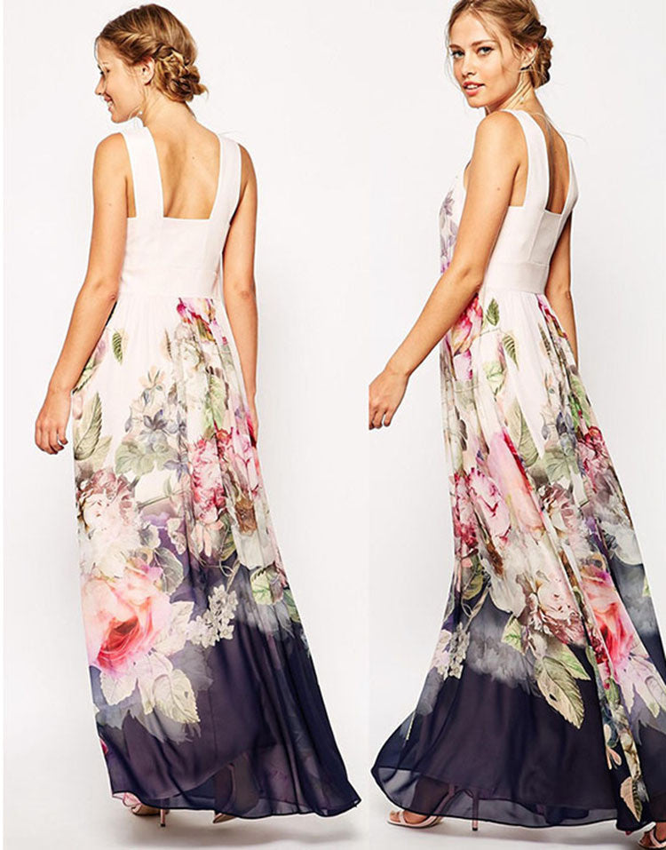 Floral Sleeveless Evening Party Long Maxi Dress - Oh Yours Fashion - 4