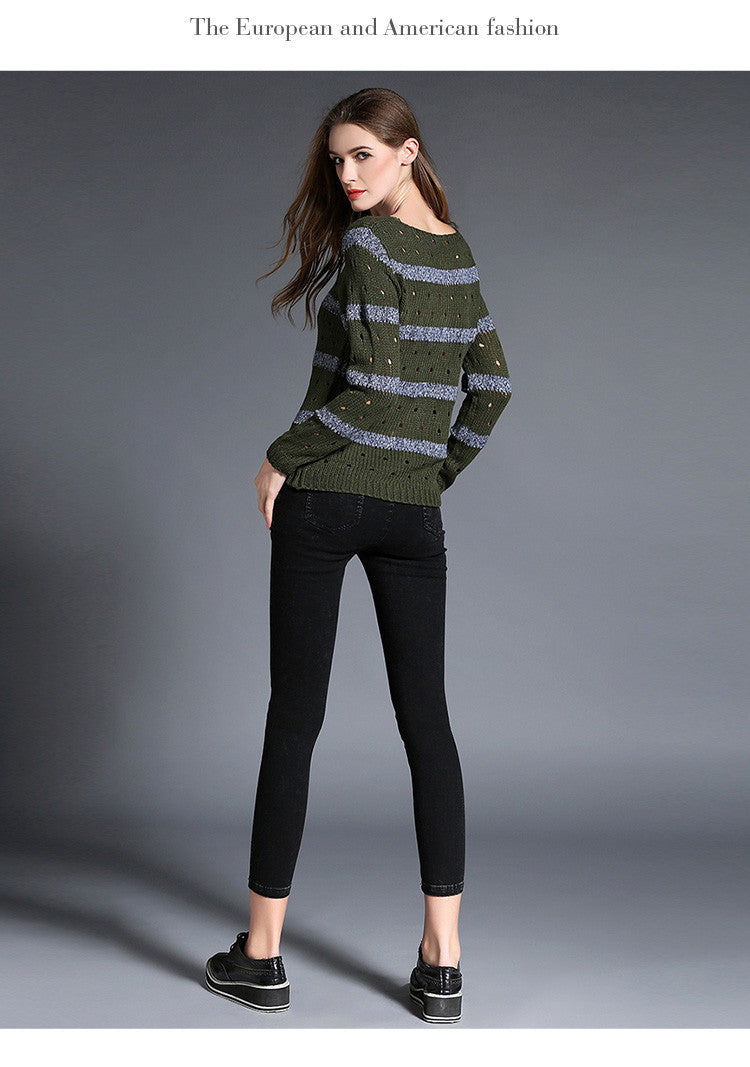 Fashion Stripe Hollow Out Pullovers Knitwear Sweater - Oh Yours Fashion - 6