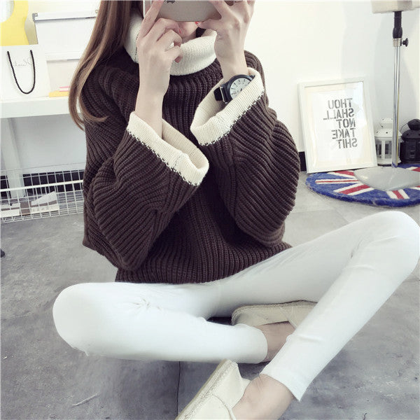 Korean Solid Color Knit Big Pullover Splicing Sweater - Oh Yours Fashion - 6